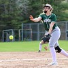 Oarkmont Regional High School softball played Groton dunstable Regional High School on Tuesday afternoon in Ashburnham. ORHS pitcher Leah Pelkey delivers a pitch during action in the game. SENTINEL & ENTERPRISE/JOHN LOVE
