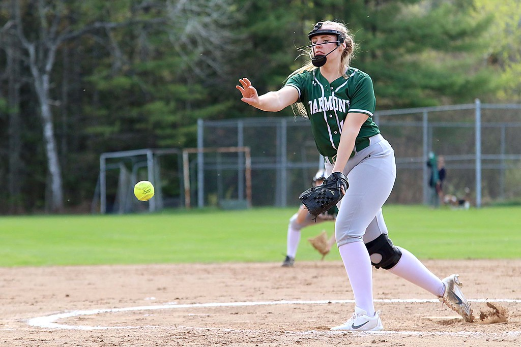 . Oarkmont Regional High School softball played Groton dunstable Regional High School on Tuesday afternoon in Ashburnham. ORHS pitcher Leah Pelkey delivers a pitch during action in the game. SENTINEL & ENTERPRISE/JOHN LOVE