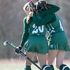 Oakmont Regional High School field hockey played Hopedale High School on Saturday, Nov. 9, 2019 for the Central Mass. Division 2 championship. ORHS's #20 Irini Stefanakos and #4 Audrey Dolan walk off the field after the game.  SENTINEL & ENTERPRISE/JOHN LOVE