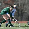 Oakmont Regional High School field hockey played Hopedale High School on Saturday, Nov. 9, 2019 for the Central Mass. Division 2 championship. ORHS's #4 Audrey Dolan with HHS's #5 Carli Schmidt. SENTINEL & ENTERPRISE/JOHN LOVE