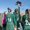 Oakmont Regional High School field hockey played Hopedale High School on Saturday, Nov. 9, 2019 for the Central Mass. Division 2 championship. ORHS's #4 Audrey Dolan holds up their second place trophy after the game for their fans to see. SENTINEL & ENTERPRISE/JOHN LOVE