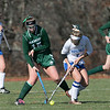 Oakmont Regional High School field hockey played Hopedale High School on Saturday, Nov. 9, 2019 for the Central Mass. Division 2 championship. ORHS's #15 Ella Lafortune and HHS's #7 Zoe Athanasopoulas. SENTINEL & ENTERPRISE/JOHN LOVE