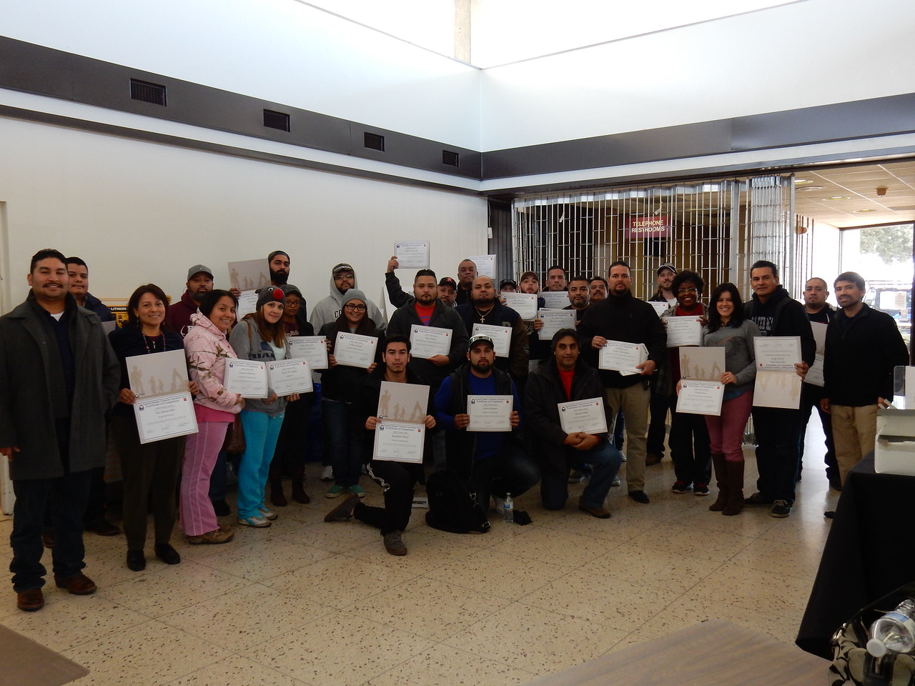 RHCA OSHA 10-Hour English Class for Construction Workers Saturday Class Completion Certificates.