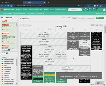Service Fusion Calendar Navigation