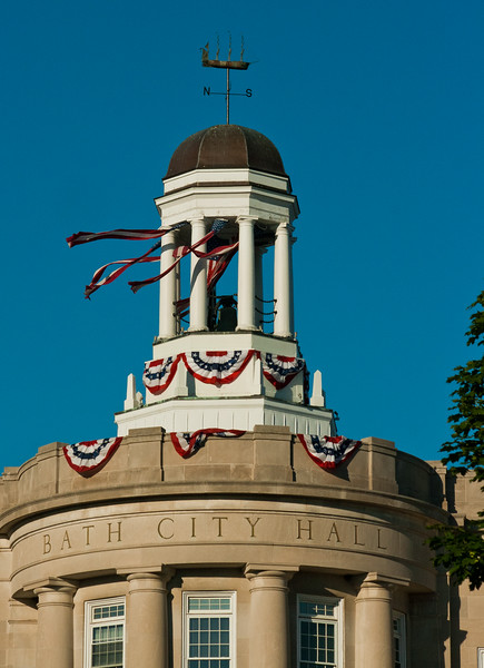 The Davenport , City Hall Bath Maine adorned with American flag bunting and streamers for Fourth Of July celebrations