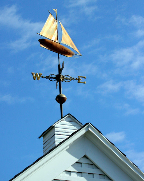 Copper weathervane of sail boat with small cupola, Phippsburg, Maine