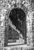 Details of stone tower atop Mount Batty, Camden Maine, black and white
