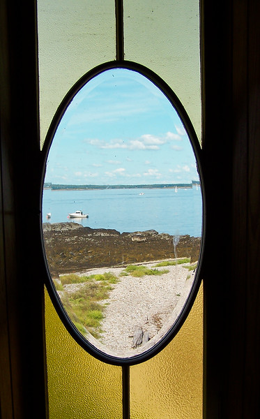 Admiral Peary's Eagle Island home, Harpswell Maine, stained glass window
