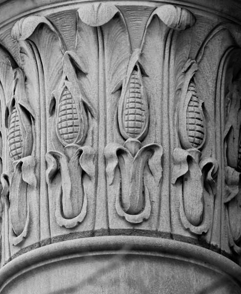 John Latrobe corn cobs on bank building column, Brunswick, Maine