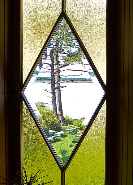stained glass at Admiral Peary's summer home on Eagle Island in Harspwell Sound, Casco Bay, Maine