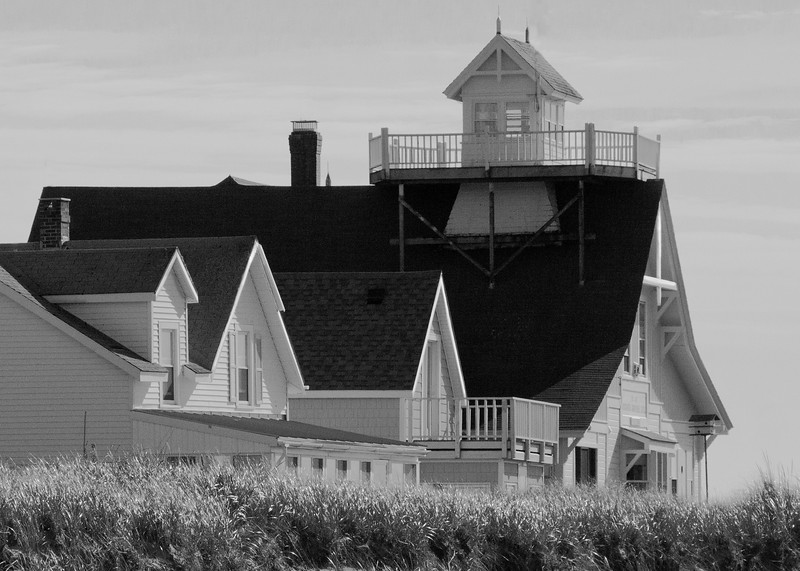 """Popham Coast Guard station, Phippsburg Maine, study in black and white, """"Gobs of Gables"""""""