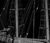 full moon through rigging of clipper ship, Phippsburg, Maine