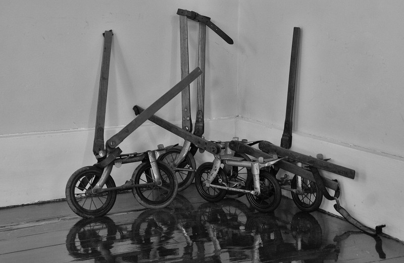These rigs were kick scooters or a sort of 'skate.' They were worn on the foot and strapped to the leg just below the knee. They were a very early verion of a sort of inline skate dating from the early 1800s. I photographed them in Key West, Florida at the Audubon House and Garden museum. I'm sure that for the few times they were made to operate, they were a load of fun. But talk about leg breaking deadly!
