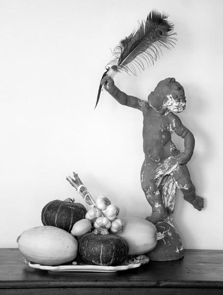 Still life, black and white, cherub, gourds, squash, garlic, peacock feather, lemons