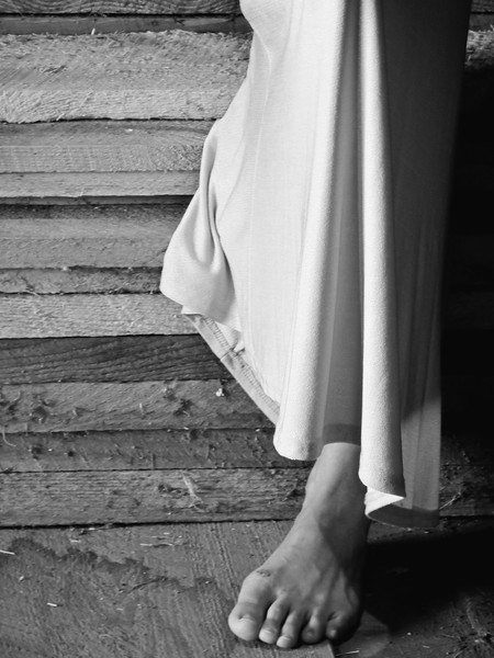 Her Foot, black and white