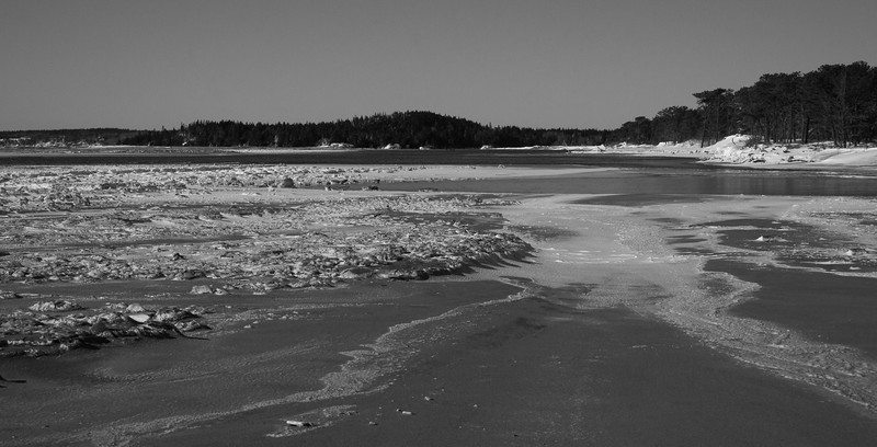 Popham Beach State Park in winter, January Phippsburg Maine