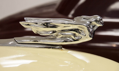 Cadillac 1941 Flying Lady hood ornament. Photo taken at http://www.vintageautomuseum.org/