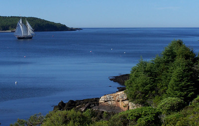 view from house looking south across Cape Small harbor and Hermit Island