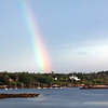 Rainbow, Phippsburg Maine scenic, Small Point Harbor, Small Point Sailing club boats at moorings, Alliquippa, also known as Ancient Augusta, historic home as viewed from Greyledge