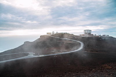 "Haleakala High Altitude Observatory Site, also known as ""Science City,"" on the summit of Haleakala Volcano has the third biggest telescope in the world."