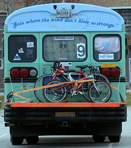 """Goin where the wind don't blow so strange"" repurposed bus, Wiscassett, Maine"
