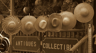 straw hat collection, sepia