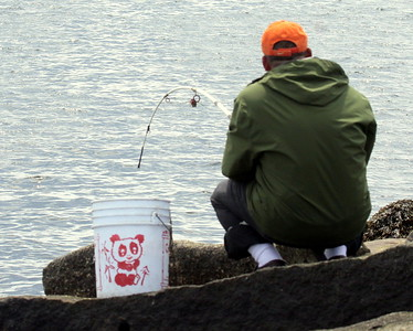 Fishing on the Rockland Breakwater, Rockland Harbor Maine