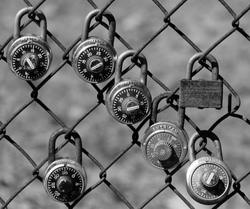 locker padlocks on fencing, site of former Brunswick High School