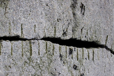 """Pucker up?"" Granite lips? Granite slab seam on Rockland Breakwater, Rockland Maine"