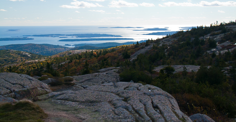 View to west from Cadillac Mountain, Acadia National Park, Mount Desert Island, Maine. October