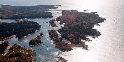 Hermit Island, Small Point, Phippsburg Maine, aerial in autumn, Alliquippa lower left, The Branch, Head Beach in center background