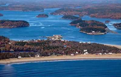 aerial view, Fort Popham, Hunnewell beach/Popham looking north up the Kennebec River. Wilber Preserve - Cox's Head on the left (east), Georgetown/Arrowsic on the right (west), Gilbert's Head. Atkins Bay is the body of water east (left) of the fort.