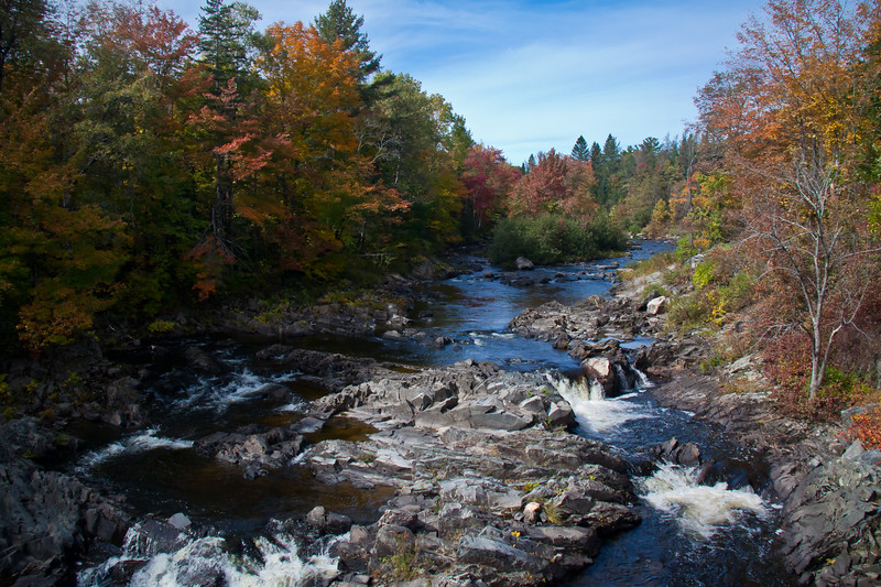Abbot, Maine, Piscataquis County, Kingsbury Stream looking north, fall foliage - horizontal