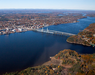 Sagadahoc Bridge over the Kennebec River looking north, aerial view in autumn, Bath on left (west), Woolwich and Arrowsic on right (south east)