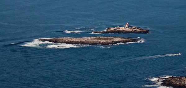 The Cuckholds Lighthouse, Boothbay Harbor, Maine, aerial view