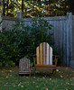 Adult and child's Adirondack chairs at Thuya Garens, Northeast Harbor, Mount Desert Island, Maine, October