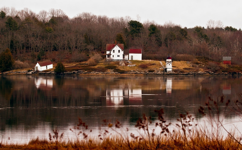 Squirrel Point Lighthouse, Kennebec River viewed from the west, Parker Head Road, Phippsburg Maine, early spring