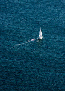 aerial view of sailboat, Casco Bay
