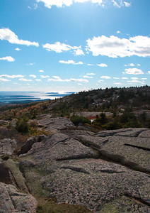 view across granite to open ocean, Cadillac Mountain looking west, Acadia National Park, Mount Desert Island, Maine