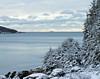 Cape Small tanker on horizon, Phippsburg Maine Casco Bay winter scene
