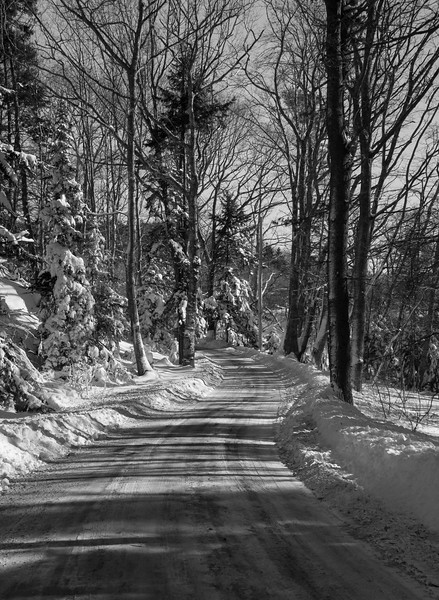 Cox's Head Road in winter, a classic, snowy scene in Maine, Phippsburg, Maine Jaunuary