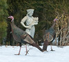Wild Turkeys with garden statue of girl holding shief of wheat, Phippsburg, Maine, February