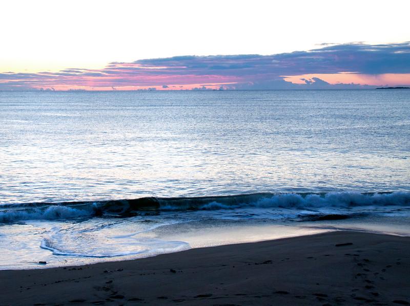 Popham Beach State park, winter sunrise with soft waves on the beach, Phippsburg, Maine