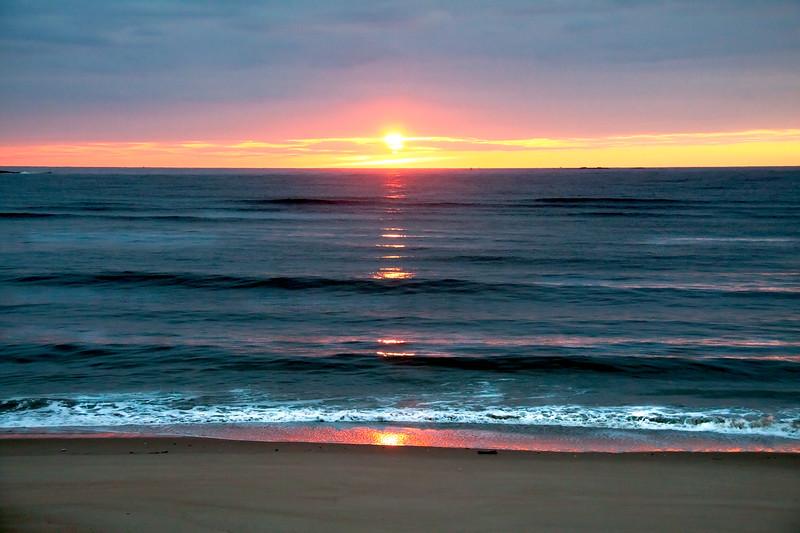 Sunrise over Popham Beach State Park, gorgeous dawn photograph, Phippsburg, Maine Casco Bay