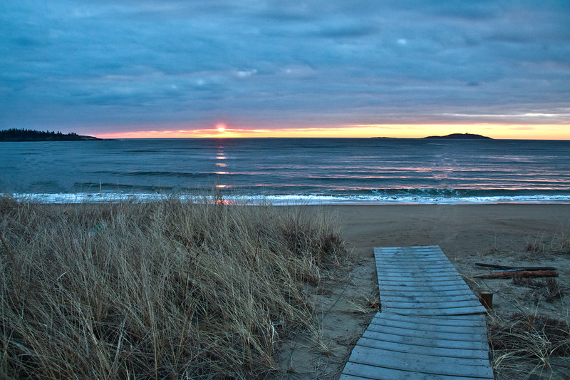 Popham Beach State Park in winter at sunrise, Phippsburg, Maine