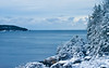 winter scenic looking across Small Point Harbor to Hermit Island from West Point, Phippsburg Maine, lovely, fresh snow on trees