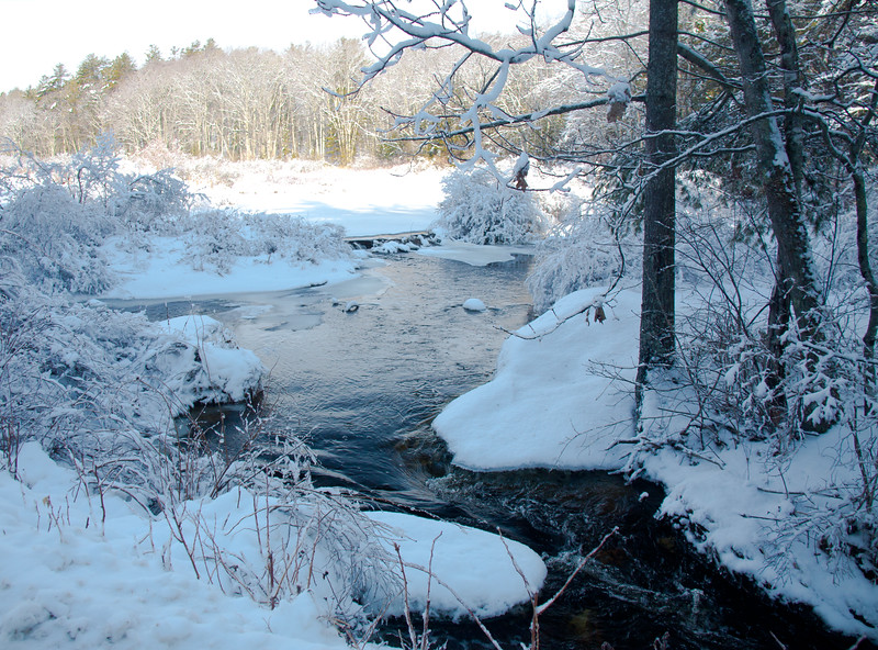 Parker Head stream in winter, north side of Sam Day Hill Road, Phippsburg, Maine winter scenic with snow and ice, beautiful after a snow storm