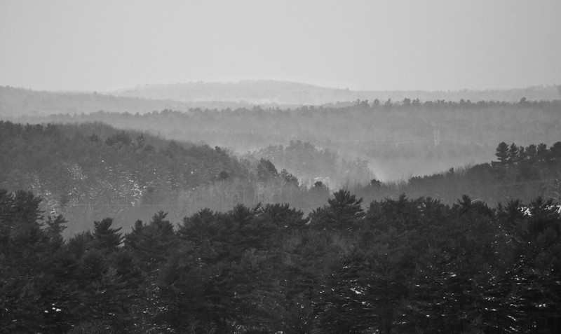 view from North Bath Maine looking north west across rolling hills with fog. The layers of fog were rising from snow up through the trees. I liked the layers. It reminded me of photos I have seen of the Blue Ridge Mountains.