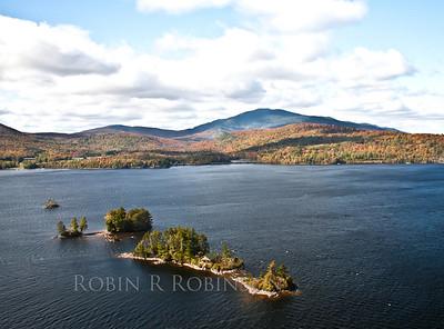 An island on Moosehead Lake, Greenville Maine looking east, September