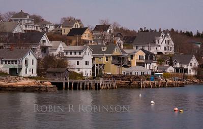 Stonington, Maine waterfront, scenic coastal fishing village